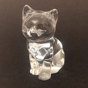 """Vintage Solid Glass 3.5"""" Cat Figurine Paperweight"""